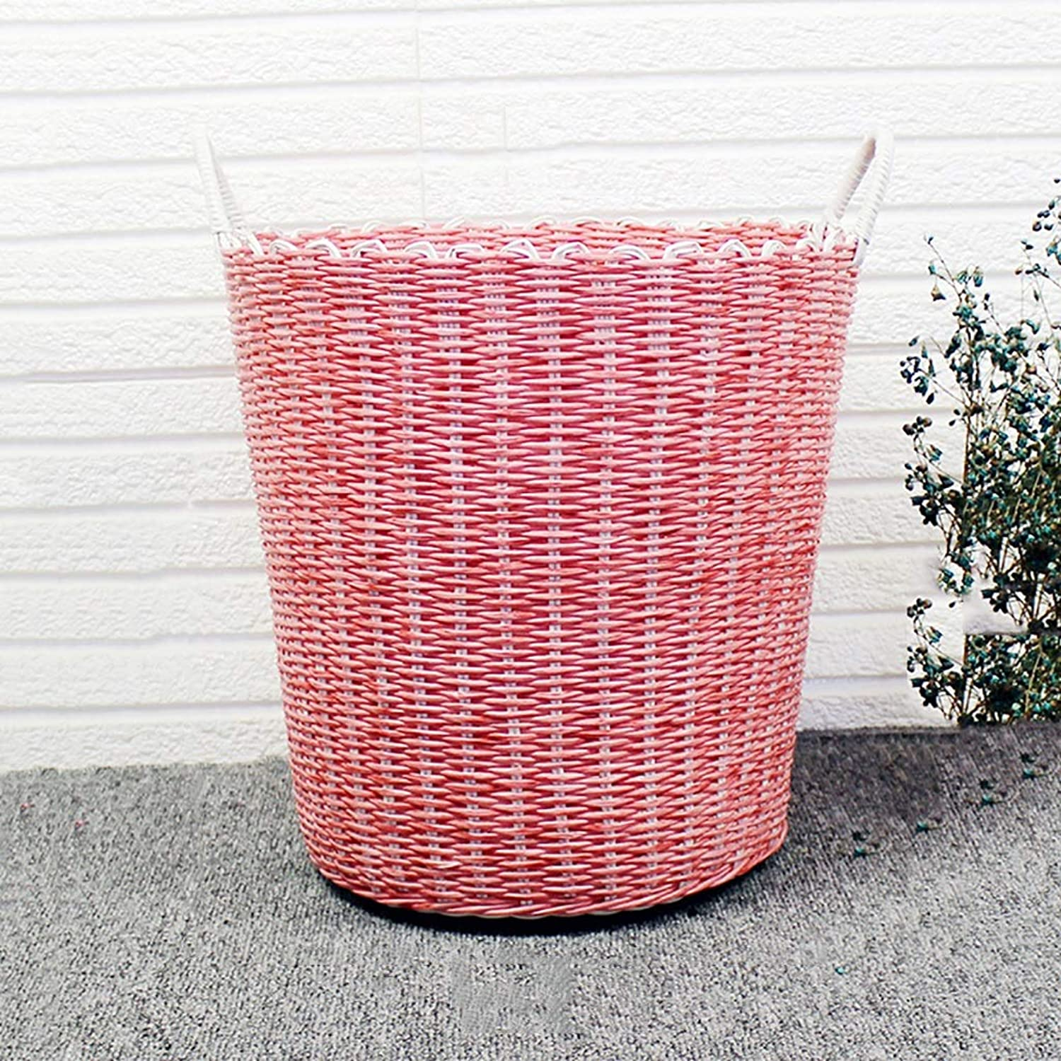 FANGFA Storage Baskets Plastic Hand Weaving Living Room Bedroom Dirty Clothes Toy Finishing Bucket (color   RED, Size   DH 40  38cm)