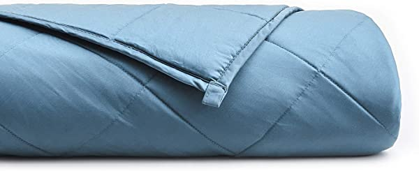 YnM Cooling Weighted Blanket With 100 Bamboo Viscose 10 Lbs For 70 100 Lbs Kids 41 X 60 Luxury Cooler Version Weighted Blanket Blue Grey