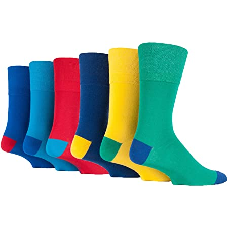 6 Pairs Mens Colourful Yellow Green Blue Gentle Grip Cotton Socks, UK Size 6-11
