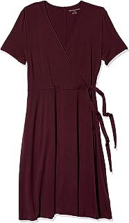 Amazon Brand - Amazon Essentials Women's  Cap-Sleeve Faux-wrap Dress