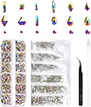 240 Piece Multi Shapes Glass Crystal AB Rhinestones For Nails Art 3D Decorations, Mix 12 Styles FlatBack Nail Crystals Gems Set (240 pcs Crystals+1728 pcs rhinestones)