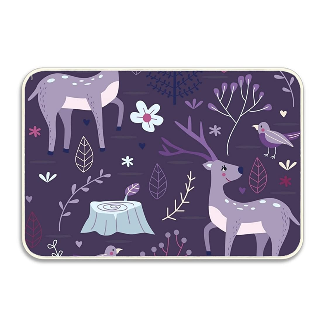 yyoungsell Purple Forest With Deer Entrance Rug Rubber Floor Mats Washable Doormat Shoe Scraper For Home suggxmhc1