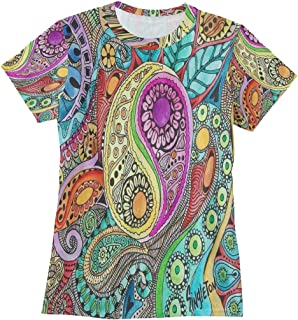 Bei Tang Hippie Backgrounds T Shirts for Women Top Tee Crew Neck Performance T-Shirt