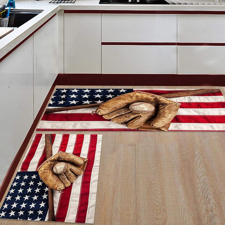 Kitchen Rugs Sets 2 Piece Floor Mats American Flag Baseball Doormat Non-Slip Rubber Backing Area Rugs Washable Carpet Inside Door Mat Pad Sets (23.6  x 35.4 +23.6  x 70.9 )