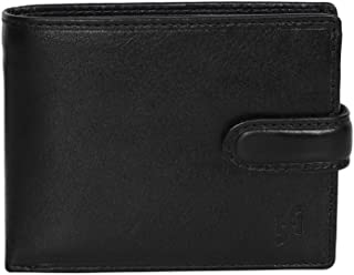 STARHIDE Mens RFID Blocking Real VT Leather Twin ID Card and Coin Pocket Wallet 1213 (Black)