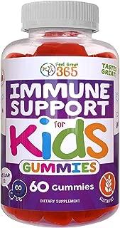 Immunity Gummies for Kids by Feel Great 365 (60 Gummies) | Immune Support with Elderberry, Vitamin A, B, C, E & Zinc | Gluten Free Plant & Pectin Based Formula | Sambucus Nigra Supplement | Elderberry