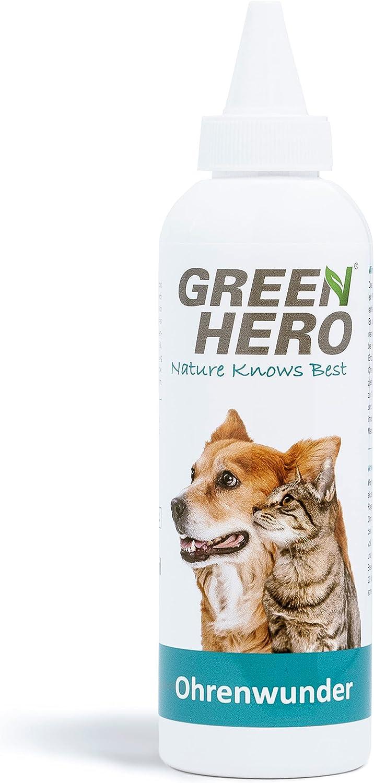 Green Hero Limpiador Oídos Perros – Gotas para los Oídos Perros – Cuidado de Oídos para Mascotas Contribuye a Disminuir el Picor, Ácaros y Más – 1 x 200 ml