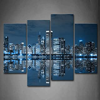 First Wall Art - Blue Cool Buildings In Dark Color In Chicago Wall Art Painting The Picture Print On Canvas City Pictures For Home Decor Decoration Gift