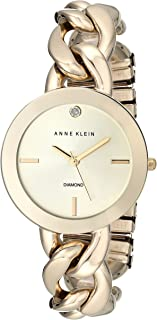 Anne Klein Women's AK/1834CHGB Diamond-Accented Gold-Tone Watch with Link Bracelet