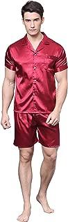 TONY & CANDICE Men's Satin Pyjama Set Short Sleeve Pj Set with Shorts Classic Sleepwear/ Nightwear