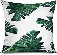 DANGCCI Plant Decorative Throw Pillows Cushion Cover for Bedroom Sofa Living Room Tropical Leaves Pattern Green Aesthetic ...