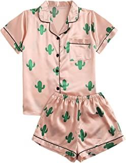 SweatyRocks - Conjunto de pijama de manga corta para mujer, con botones de satén, 2 piezas