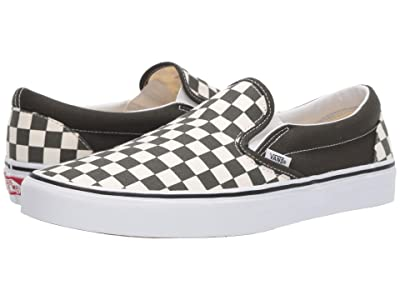 Vans Classic Slip-Ontm ((Checkerboard) Forest Night/True White) Skate Shoes