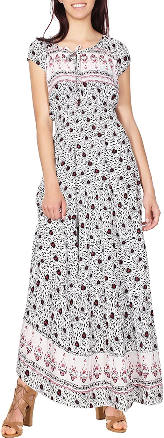 2LUV Women's Printed Sleeveless Keyhole Cutout Neckline Long Summer Maxi Dress