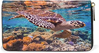 Womens Wallets Sea Turtle Coral Long Leather Clutch Purse Handbag Organizer