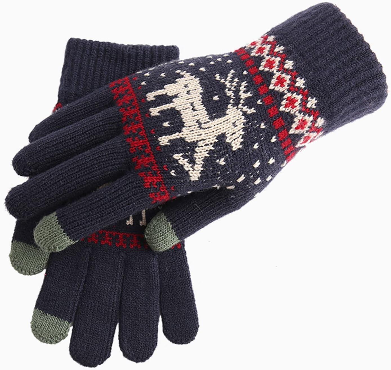 YSJJSQZ Winter Gloves Female Winter Cute Elk Deer Snowflake Wool Knitted Warm Mittens Korean Couple Full Finger Driving Gloves (Color : Dark Blue, Gloves Size : One Size)