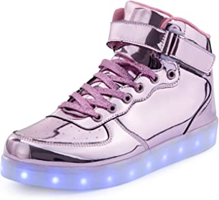 Kids LED Light Up Shoes Boys Girls High Tops School Sneakers Christmas Party Dancing