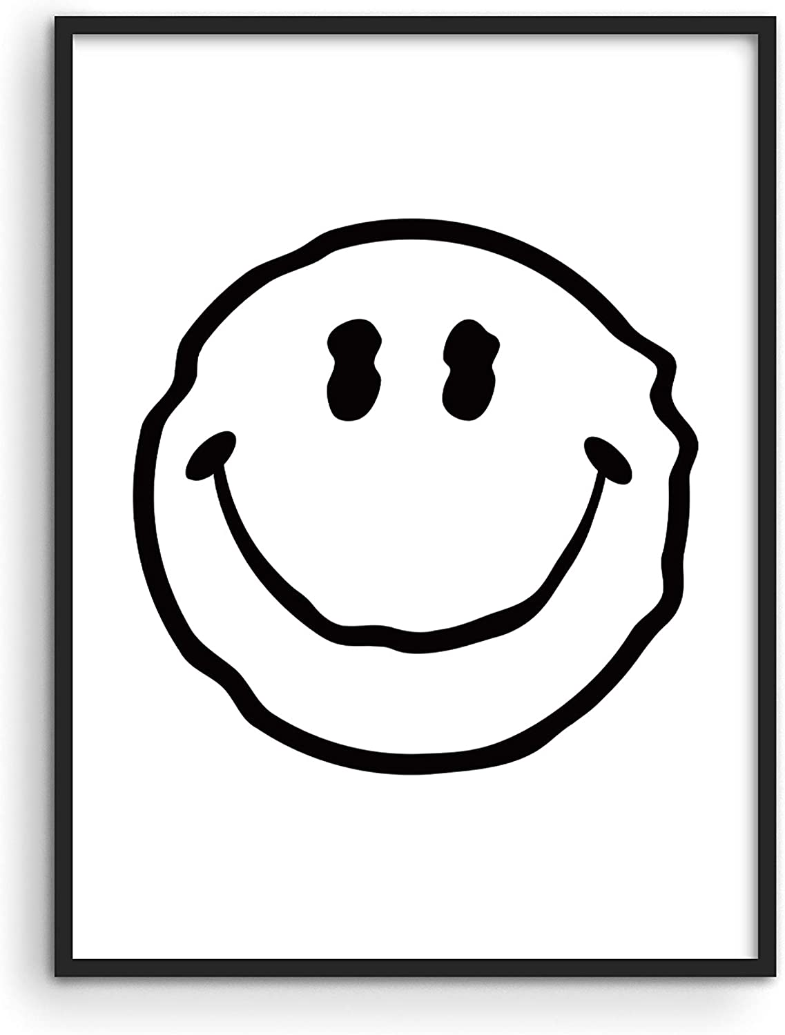 """Smiley Face Poster White Wavy Smiley - By Haus and Hues   Cool Posters for Room Aesthetic Dope Paintings Edgy Poster Black and White Prints Wall Posters Aesthetic UNFRAMED 12"""" x 16"""""""