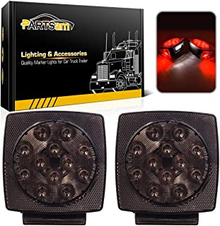 Partsam 12V Submersible Square Led Trailer Lights Smoked Red Combination Led Stop Tail Brake Turn Signal Light for Trailers Under 80