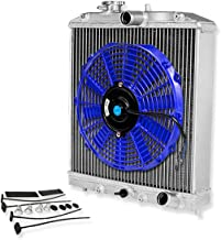 For Civic/Del Sol/Integra (Manual Transmission) 3-Row Tri Core 60mm Racing Radiator+12 inches Blue Fan