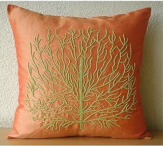 Fait main Marron Couverture D'Oreillers, Beade Orange Tree Couverture D'Oreillers, taies d'oreiller 40x40 cm, Carré Soie C...