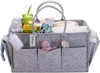 Hinwo Baby Felt Diaper Caddy 3-Compartment Infant Nursery Tote Storage Bin Portable Car Organizer Newborn Shower Gift Bask...