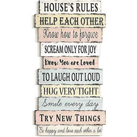 """Wooden Wall Plaque /""""Family Rules/""""  47 x 33 x 2.5cm"""