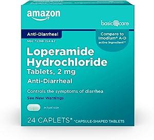 Amazon Basic Care Loperamide Hydrochloride Tablets, 2 mg, Anti-Diarrheal, 24 Count
