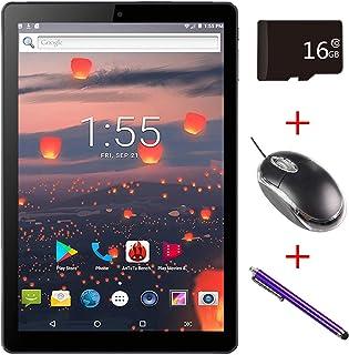 Mirzebo Androidタブレット10.1インチタッチスクリーンWi-Fiタブレット、1GB RAM、16GBストレージ、Bluetooth、GPS、USB、IPS画面、デュアルSIMカードスロット、デュアルカメラ、マウスでタブレットのロックを解除 (黒)