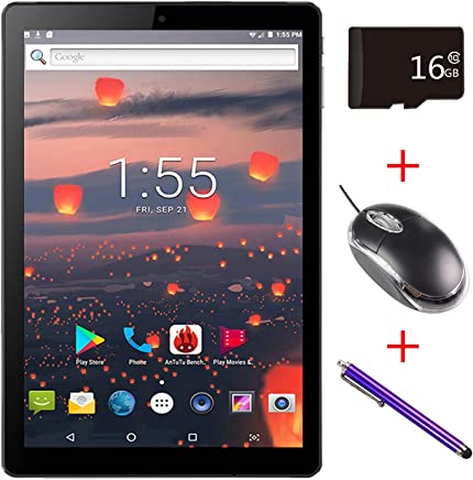 $85 Get Mirzebo Android Tablet 10.1''Touchscreen Wi-Fi Tablet,1GB RAM, 16GB Storage, Bluetooth,GPS, USB, IPS Screen, Unlocked Tablet PC with Dual Sim Card Slots,Dual Camera,Mouse (Black)