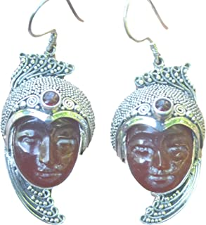 Jewelry With Soul Goddess Face Carnelian Gemstone Carving 925 Sterling Silver Earrings