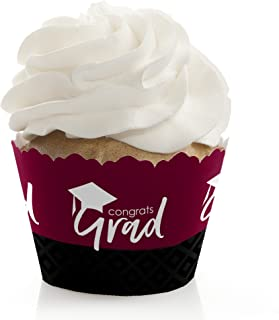Maroon Grad - Best is Yet to Come - Burgundy Graduation Party Decorations - Party Cupcake Wrappers - Set of 12