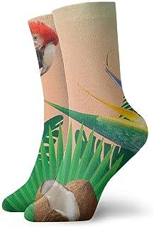 OUYouDeFangA, OUYouDeFangA - Calcetines cortos de algodón para adultos, diseño de loro con palma de coco, para yoga, senderismo, ciclismo, correr, fútbol, deportes