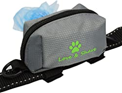 Dog Poop Bag Holder, Dog Poop Waste Bag Holder Dispenser for Leash, Dog Accessories - Grey