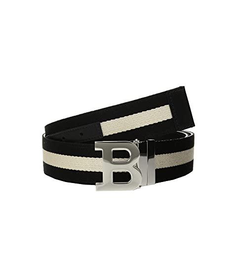 Bally B Buckle Bally Stripe Canvas and Leather Belt