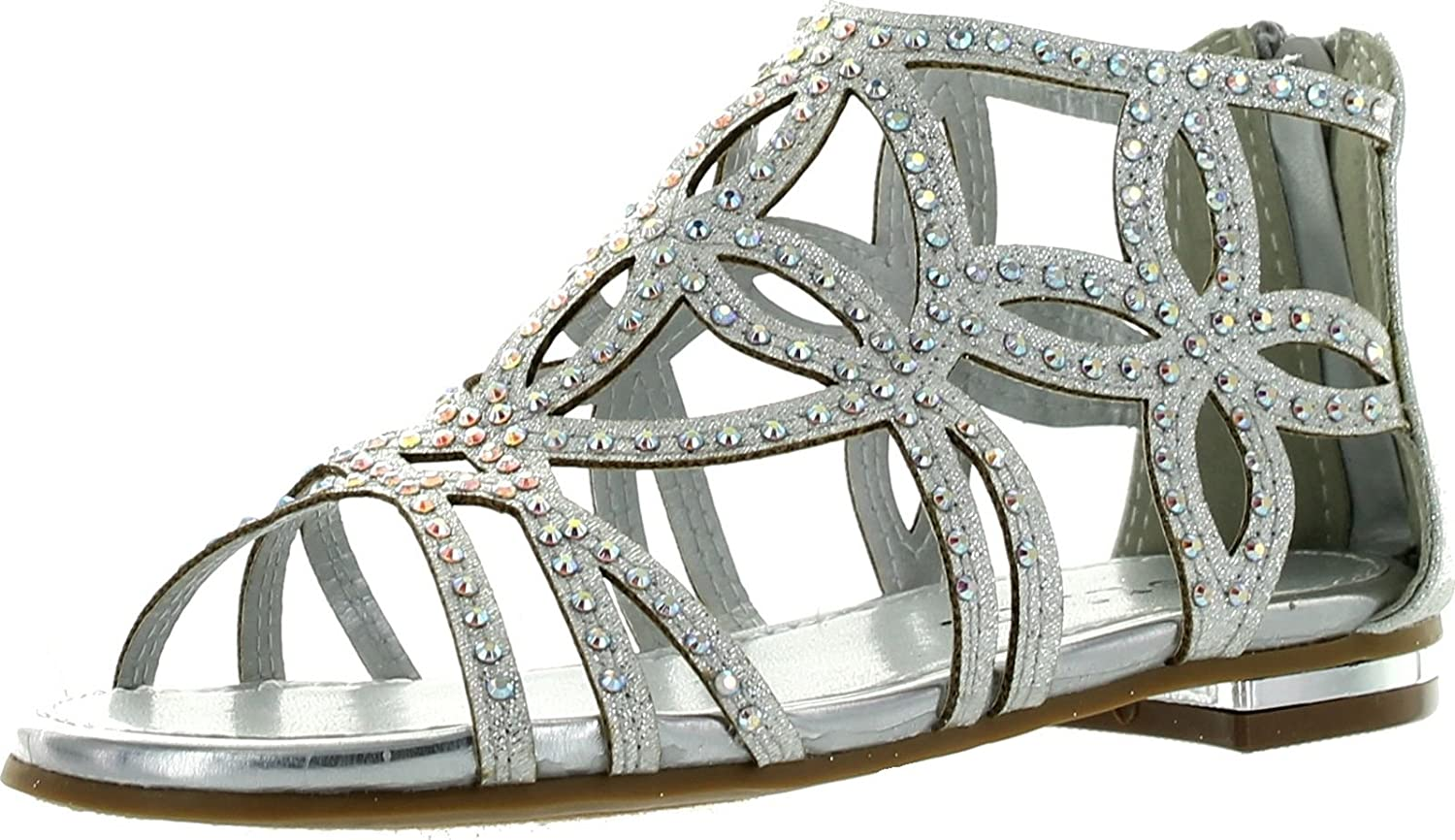 J.J.F Shoes Girls Kids Cut Gladiator Strappy Out Max 80% Al sold out. OFF Rhinestone Dres