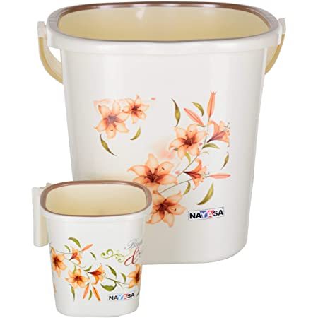Nayasa 2 Piece Plastic Bathroom Bucket and Mug Set, Off-White - by AAROHI13