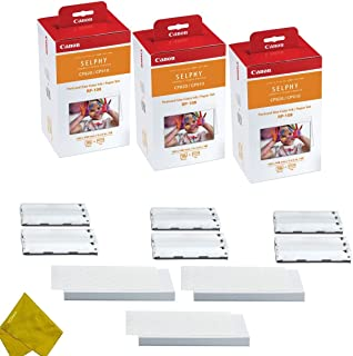 Canon RP-108 4 High Capacity Color Ink Cassette and 324 Sheets 4 x 6 Paper Glossy for SELPHY CP1300, CP1200, CP910, CP820 Wireless Compact Photo Printer (3-Pack)