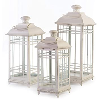 Lillian Off-White Metal Lanterns - Set of 3