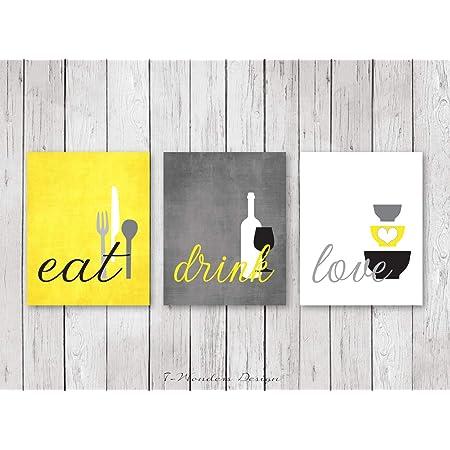 Amazon Com Moira Kitchen Wall Art Print Set Eat Drink Love Yellow Grey Black White Modern Decor Of 3 Many Sizes Framed Canvas Posters Prints