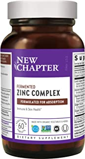 New Chapter Fermented Zinc Complex – Immune Support with Elderberry + Skin Health + Non-GMO – 60ct Vegetarian Tablets