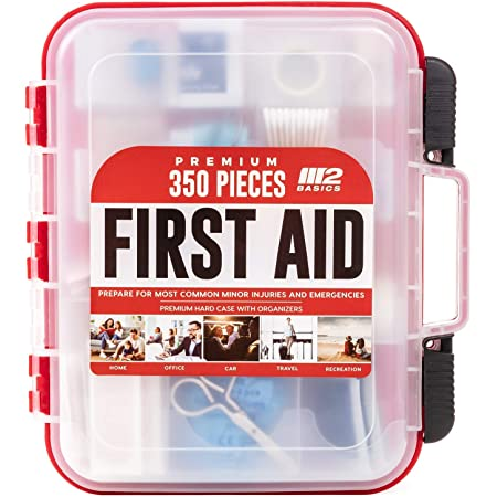 M2 BASICS 350 Piece Emergency First Aid Kit | Dual Layer, Wall Mountable, Medical Supplies for Business, School, Car or Home