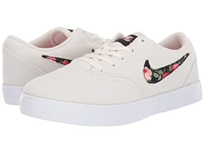 Nike SB Kids Check Canvas VF (Little Kid) (Pale Ivory/Black/Pint Tint/White) Girls Shoes