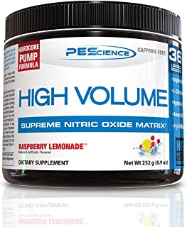 PEScience High Volume, Raspberry Lemonade, 36 Scoops, Nitric Oxide Pre Workout Powder