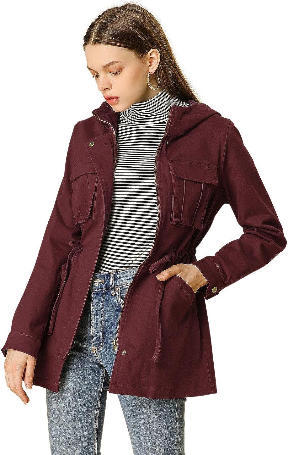 Allegra K Women's Hooded Drawstring Flap Pockets Utility Parka Anorak Jacket
