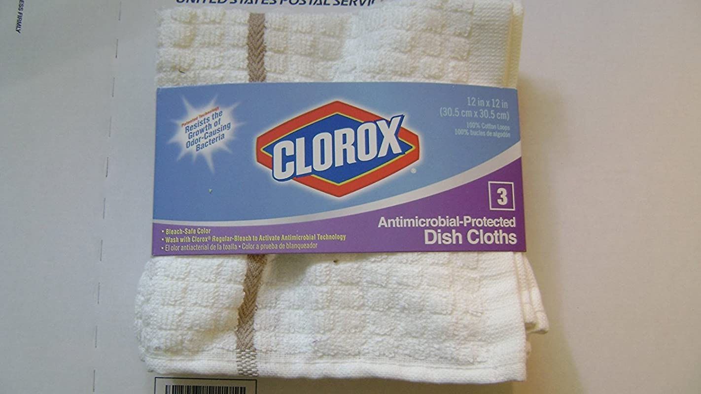 Clorox Dish Cloths Dishcloths Dish Rags 3 Pk Antimicrobial Protected Bleach Safe