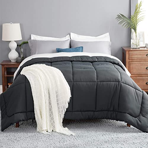 Bedsure Duvet Insert King Comforter Dark Grey - All Season Quilted Down Alternative Comforter for King Bed, 300GSM Ma...
