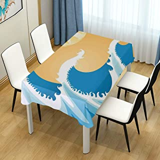 CHASOEA Decor Tablecloth Huge Sea Waves at Summer Noon Art Picture Tropical Ocean Storm Tide Rectangular Table Cover 60