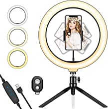 "Ring Light with Tripod Stand, FURANDE 10"" Selfie Ring Light & Phone Holder 3 Adjustable Light Modes and 10 Dimmable Bright..."