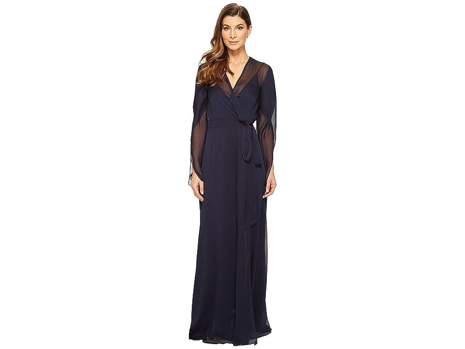 Halston Heritage Long Sleeve Deep V-Neck Flowy Gown w/ Sash (Dark Navy) Women